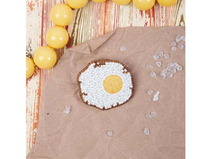 Brooch. Fried Egg Bead Embroidery Kit фото 3