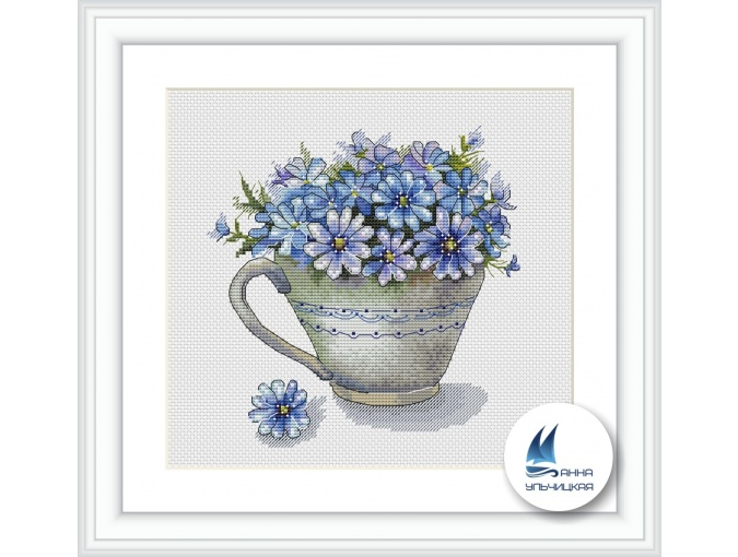 Cup with Flowers Cross Stitch Pattern фото 1
