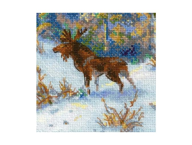 Moose in a Winter Forest Cross Stitch Kit  фото 5