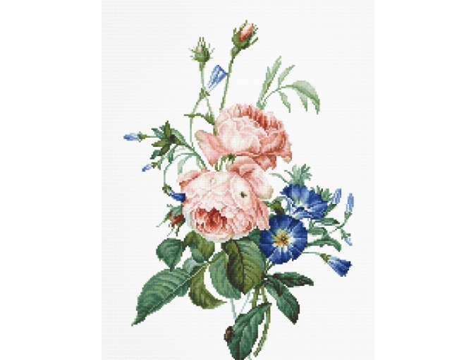 Bouquet with Roses and Cornflowers Cross Stitch Kit фото 1