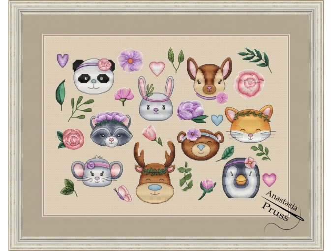 Cute Animals with Flowers Cross Stitch Pattern фото 1