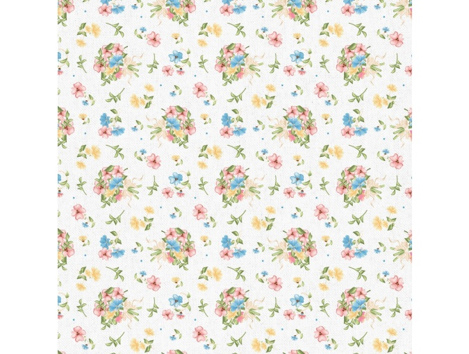 Fat Quarter Peppy, print White with Flowers фото 1