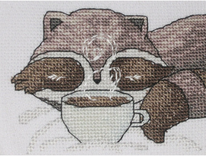 Little Raccoon with Coffee Cross Stitch Pattern фото 5