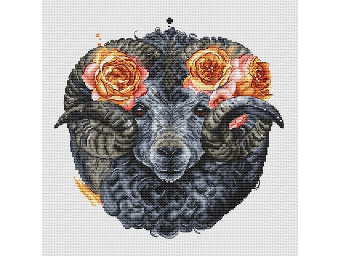 Ram with Roses Cross Stitch Pattern фото 4