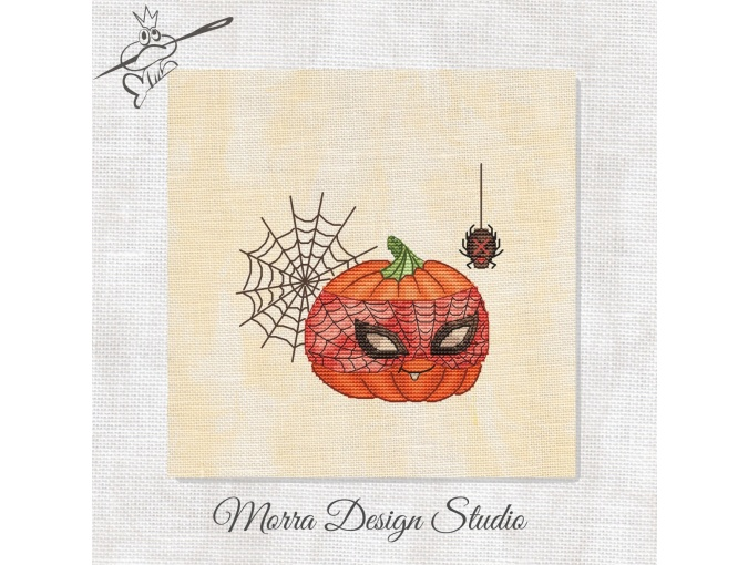 Spider Pumpkin Cross Stitch Pattern фото 1