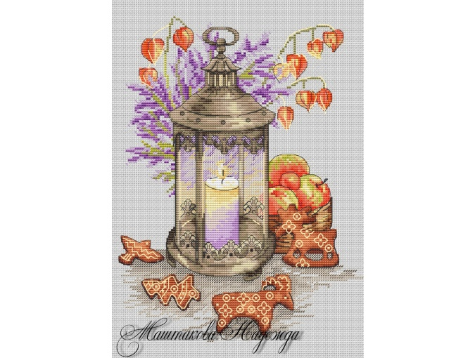 Lantern with Gingerbread Cross Stitch Pattern фото 1