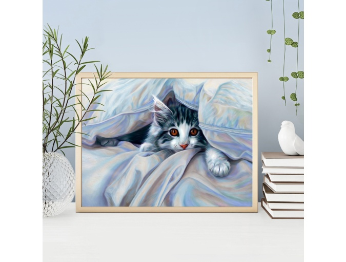 Cat under the Covers Diamond Painting Kit фото 1