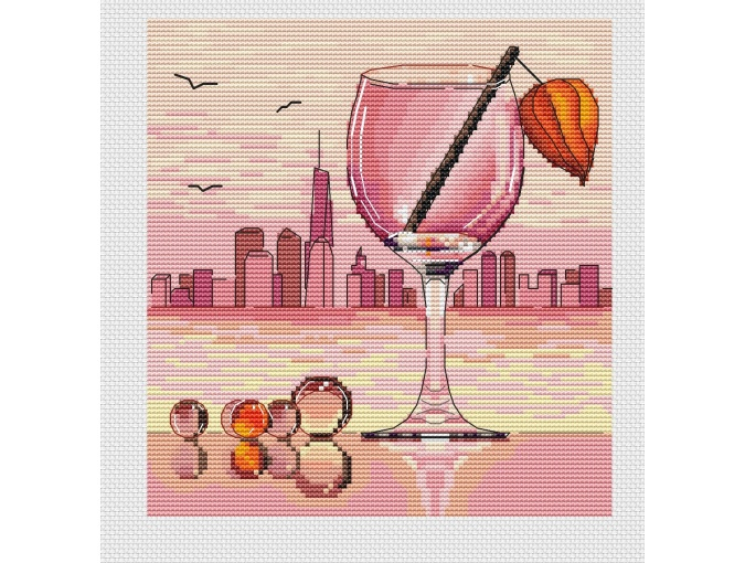 On the Shore of a Big City Cross Stitch Pattern фото 1