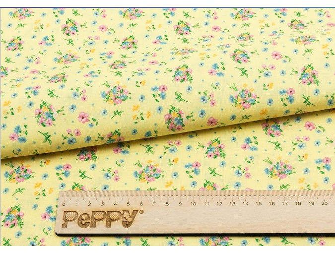 Fat Quarter Peppy, print Yellow with Flowers фото 2