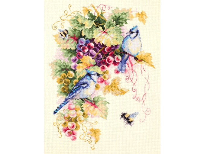 Blue Jay and Grapes Cross Stitch Kit фото 1