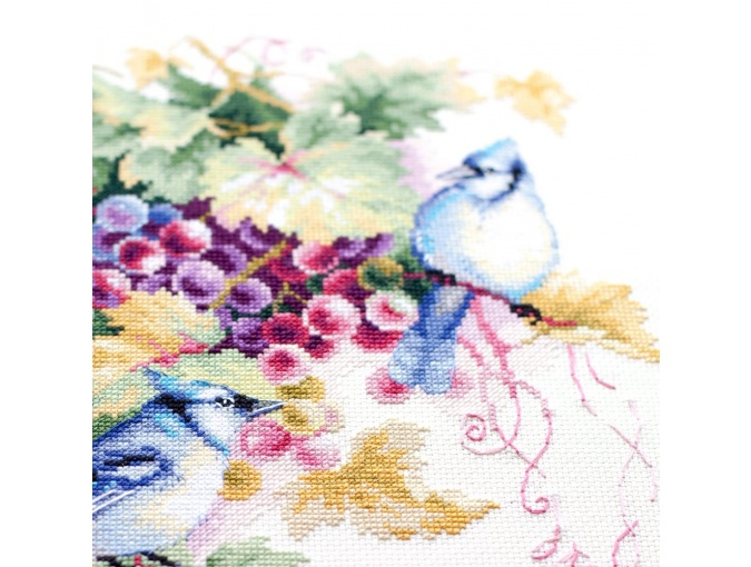 Blue Jay and Grapes Cross Stitch Kit фото 9