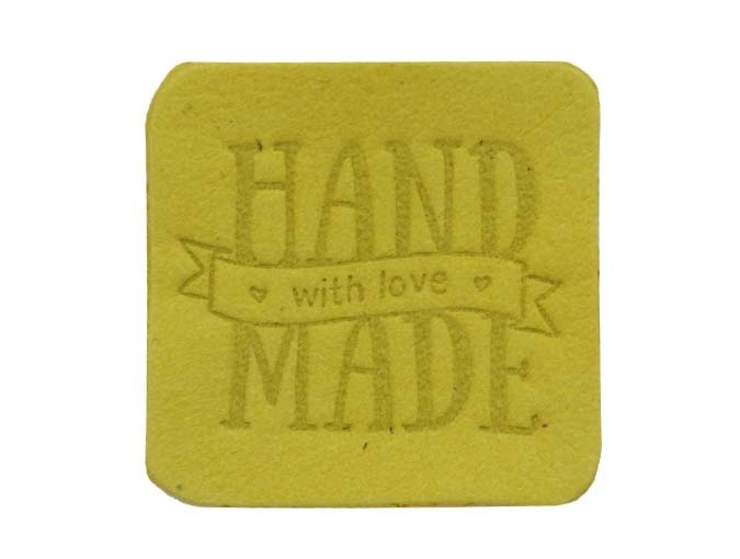"Label ""Handmade"", leather natural, square фото 4"