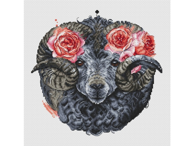 Ram with Roses Cross Stitch Pattern фото 2