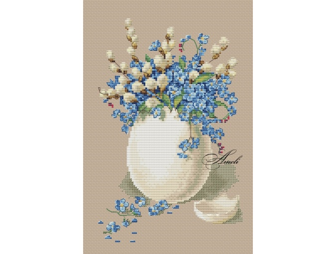 Forget-me-nots and Willow Cross Stitch Pattern фото 2