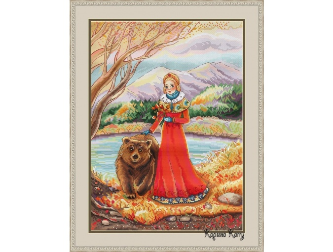 Queen and Bear Cross Stitch Pattern фото 1