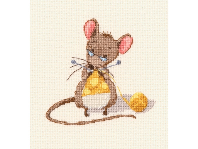 Cheese Knitting Cross Stitch Kit фото 1