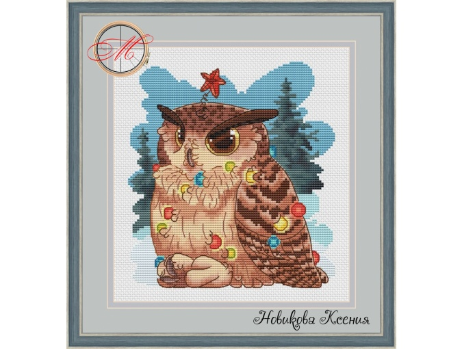 Owl and Christmas Lights Cross Stitch Pattern фото 1