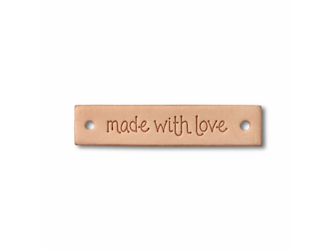 "Label ""made with love"", leather natural, rectangular фото 2"