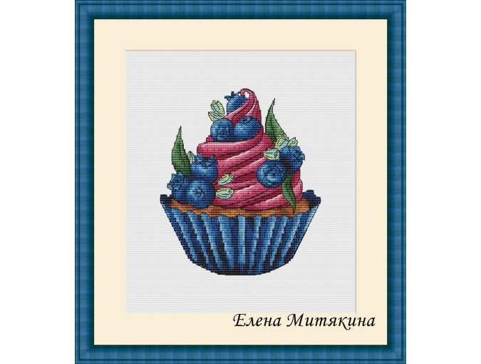 Blueberry Muffin Cross Stitch Pattern фото 1