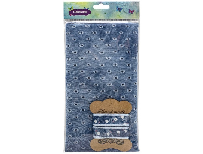 Blue Denim Patchwork Fabric with Braid фото 2