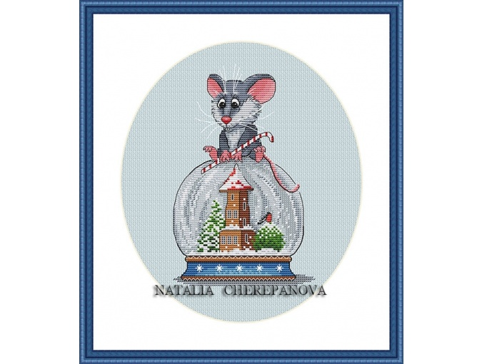 Mouse On the Snowball Cross Stitch Pattern фото 1
