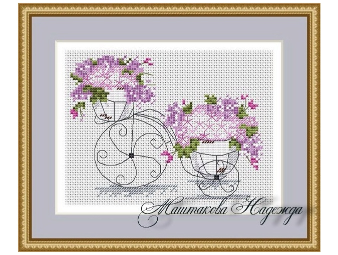 Flower Bike Cross Stitch Pattern фото 1