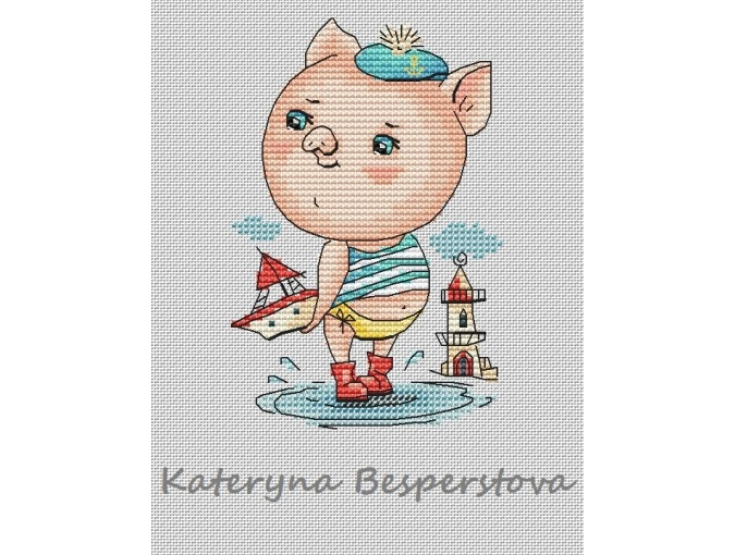 Piggy Sailor Cross Stitch Pattern фото 1