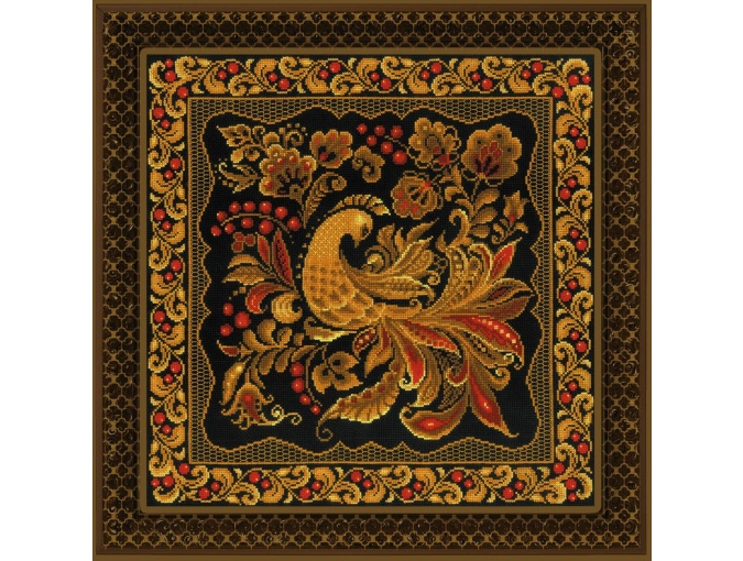 Cushion/Panel Khokhloma Painting Cross Stitch Kit фото 2