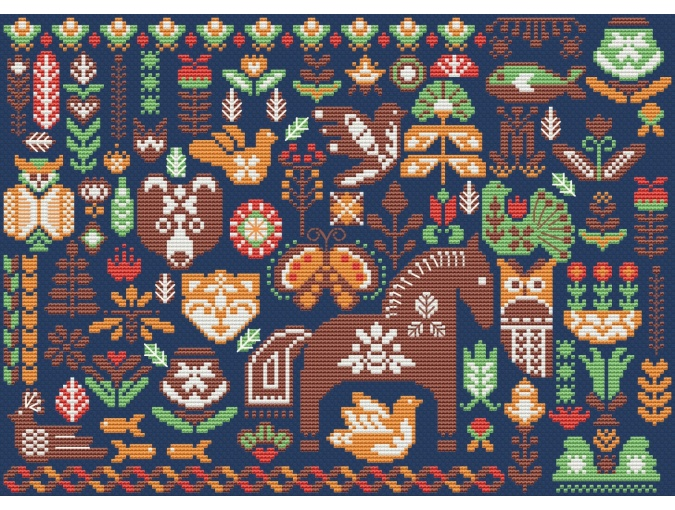 Hygge Green Forest Cross Stitch Pattern фото 3