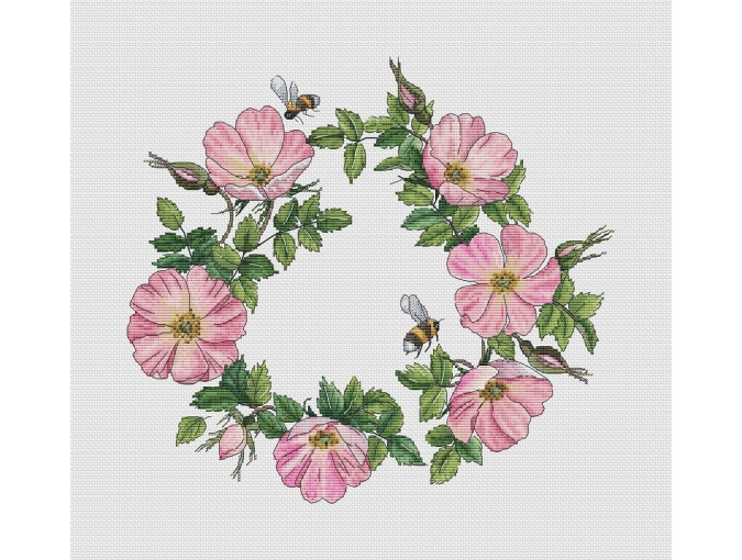 Rosehip Wreath Cross Stitch Pattern фото 1