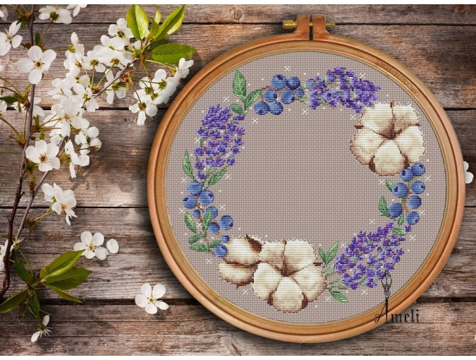 Flowers and Berries Wreath Cross Stitch Pattern фото 2