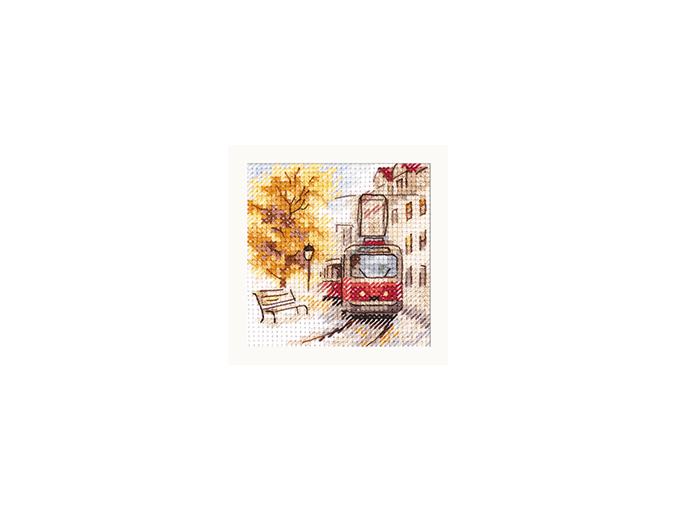 Autumn in the City. The Tram Cross Stitch Kit фото 1