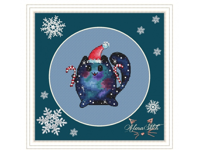 Cosmo Cat with Candies Cross Stitch Pattern фото 1