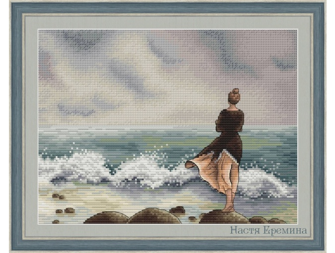 Girl At the Sea Cross Stitch Pattern фото 1