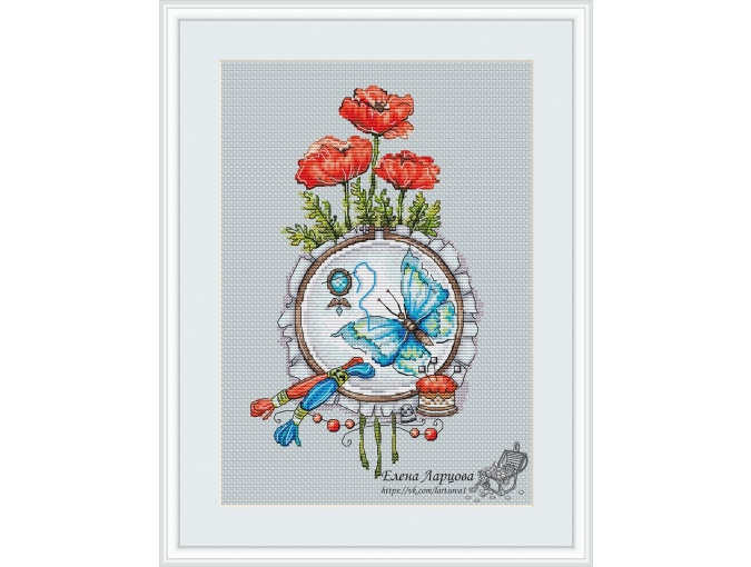 Poppies and Butterfly Cross Stitch Pattern фото 1