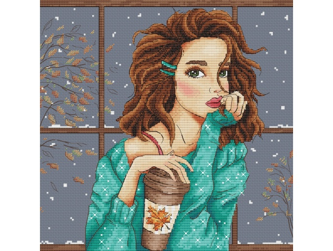 First Snow. Brown Hair Cross Stitch Pattern фото 1