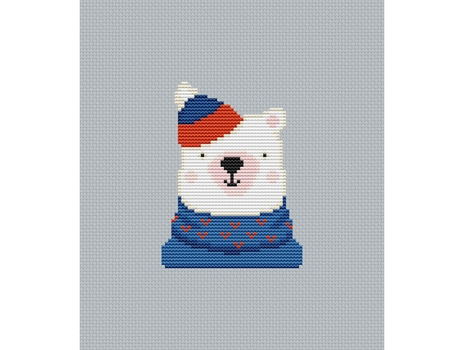 Hipster Bear Cross Stitch Chart фото 1