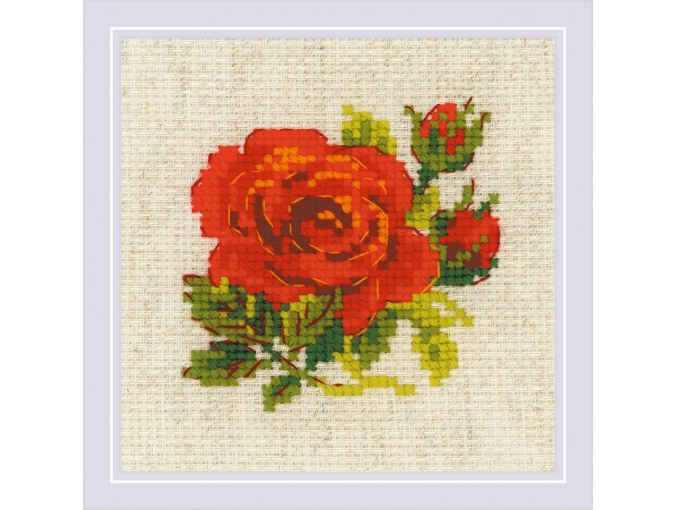 Flame Red Rose Cross Stitch Kit фото 1