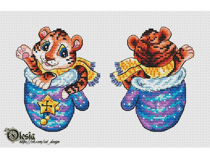 Mitten with a Tiger Cross Stitch Pattern фото 1