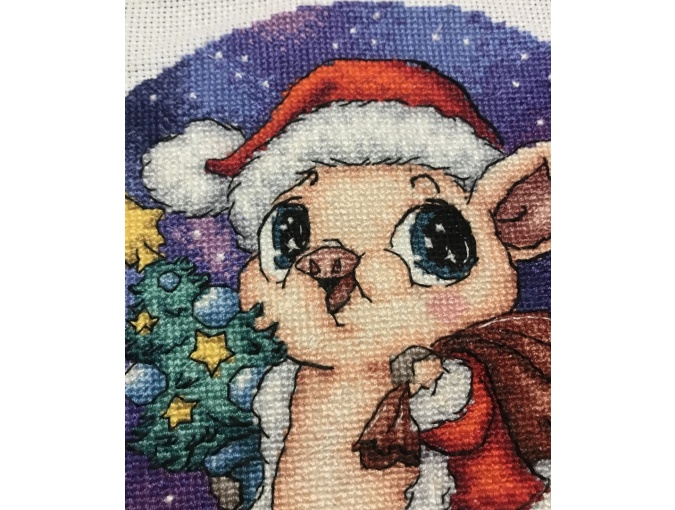 Piglet Santa Cross Stitch Pattern фото 3
