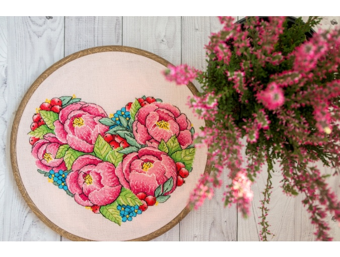 Peony Heart Cross Stitch Pattern фото 2