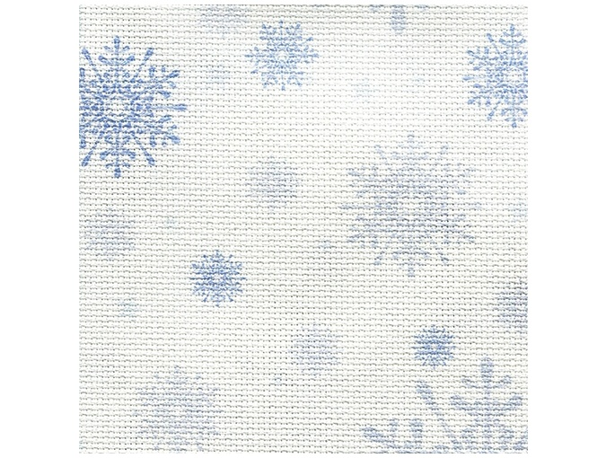 14 Count Aida Designer Fabric by Bestex Blue Snowflakes фото 1