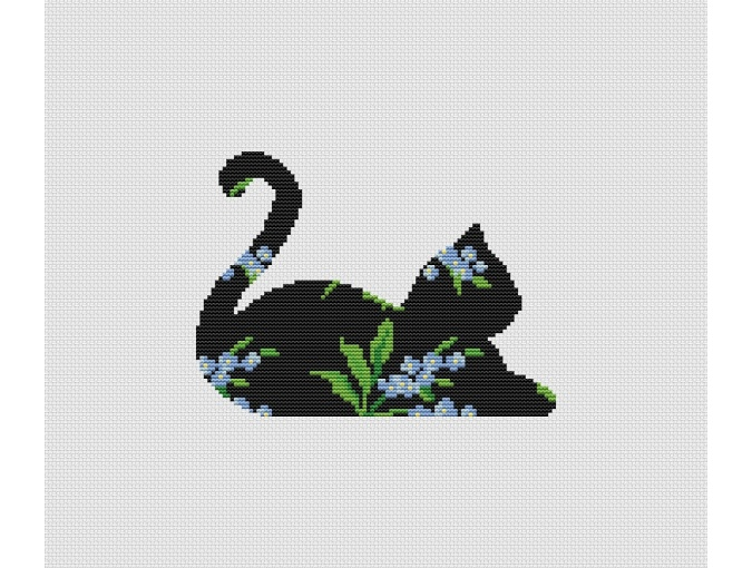 Forget Me Not Cat Cross Stitch Pattern фото 1