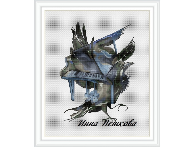 Black Wings Cross Stitch Pattern фото 1