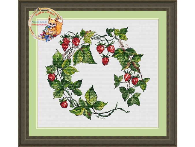 Wild Strawberry Wreath Cross Stitch Pattern фото 1