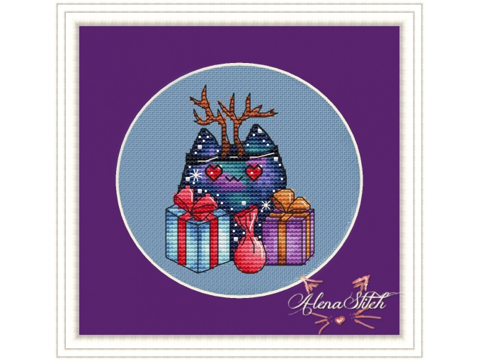 Cosmo Cat with Presents Cross Stitch Pattern фото 1