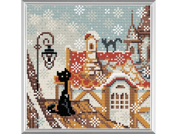 City & Cats Winter Diamond Painting Kit фото 1