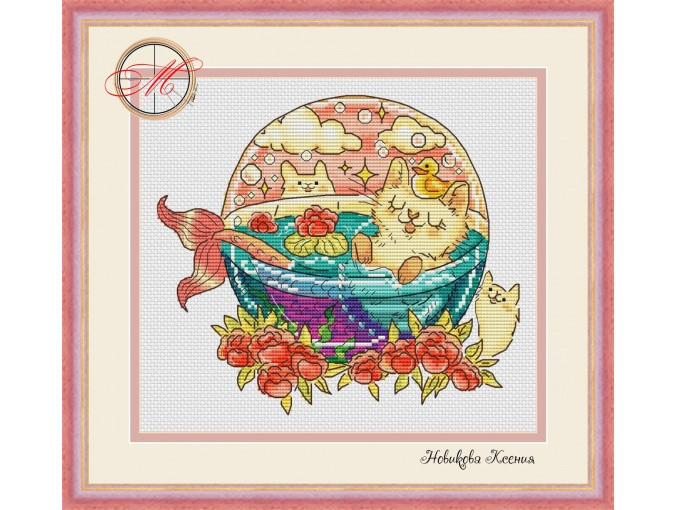 Little Mermaid Cat Cross Stitch Pattern фото 1