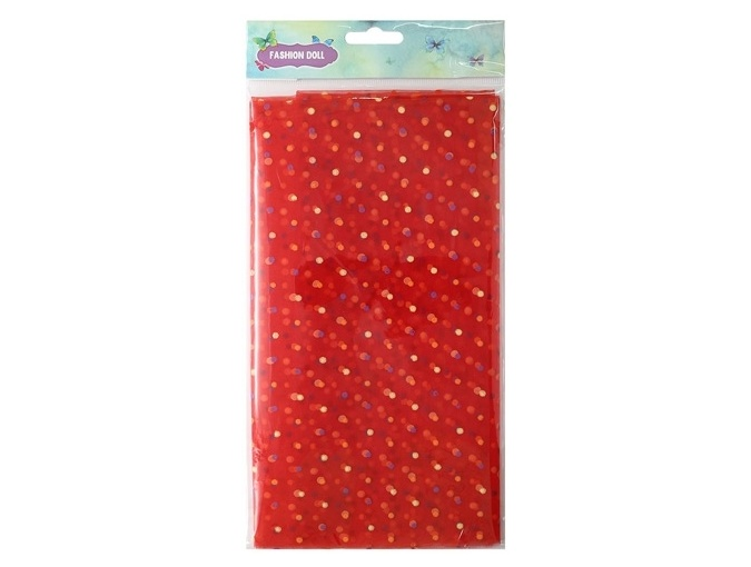 Red Polka Dot Organza Patchwork Fabric фото 1