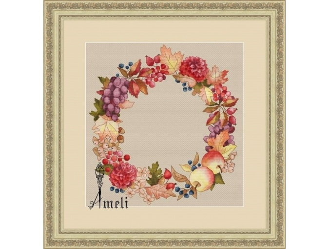 Gifts of Autumn Wreath Cross Stitch Pattern фото 1